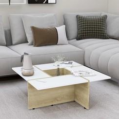 Salontafel 79,5x79,5x30 cm spaanplaat wit en sonoma eikenkleur
