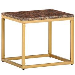 Salontafel 40x40x35 cm echt steen met marmeren textuur bruin
