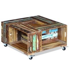 Salontafel massief gerecycled hout 70x70x35 cm