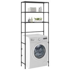 Opbergrek voor boven wasmachine 3-laags 69x28x169 cm zwart