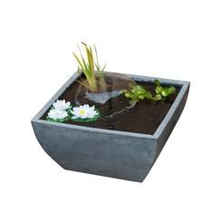 Vierkante vijver met pomp en waterlelies grijs 1387081