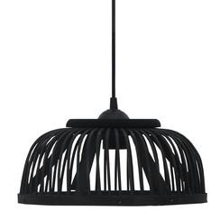 Hanglamp halfrond 40 W E27 37x15,5 cm bamboe zwart