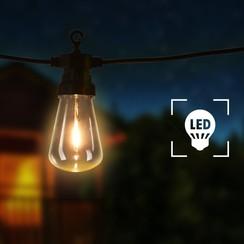 Lichtsnoer met 20 lampen ovaal 23 m