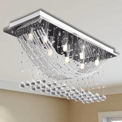 Plafondlamp met glinsterende glas kristallen kralen 8xG9 29 cm