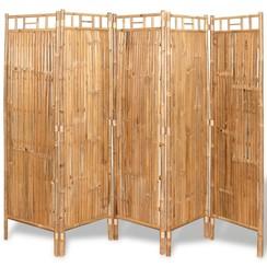 Scheidingswand met 5 panelen 200x160 cm bamboe