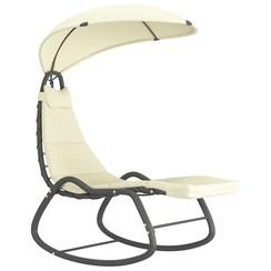 Tuinschommelstoel 160x80x195 cm stof crème