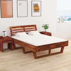Bedframe met 2 nachtkastjes 140x200 cm massief acaciahout