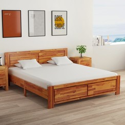 Bedframe met 2 nachtkastjes 160x200 cm massief acaciahout