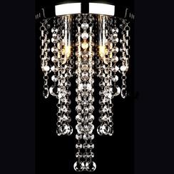 Plafondlamp met kristalkralen metaal wit