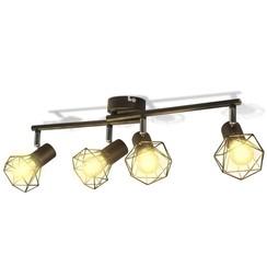 Lamp industrieel met 4 LED's zwart