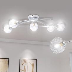 Plafondlamp met gaasdraad kappen voor 5 x G9 peertjes
