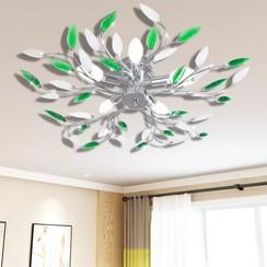 Lamp met kristallen bladeren van acryl voor 5x E14 wit/groen