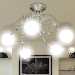 Plafondlamp met ronde glazen kapjes (5 x G9)