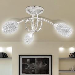 Plafondlamp met witte kristallen acryl kapjes (3 x G9)
