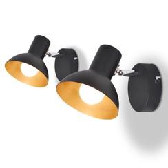 Wandlampen voor 2 peertjes E27 zwart en goud 2 st