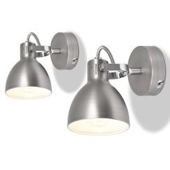 Wandlampen voor 2 peertjes E14 grijs 2 st