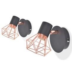 Wandlamp E14 zwart en koper 2 st