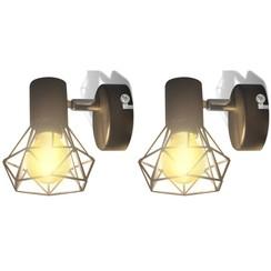 Wandlampen 2 st met LED industriële stijl zwart