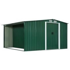 Tuinschuur met schuifdeuren 329,5x312x178 cm staal groen