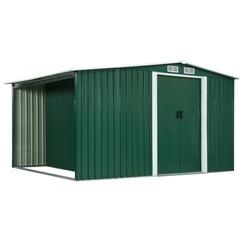 Tuinschuur met schuifdeuren 329,5x205x178 cm staal groen