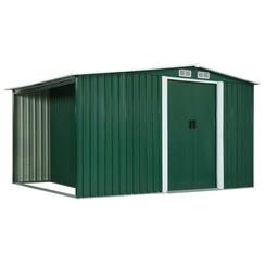 Tuinschuur met schuifdeuren 329,5x131x178 cm staal groen