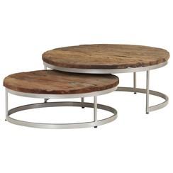 2-delige Salontafelset gerecycled hout en staal
