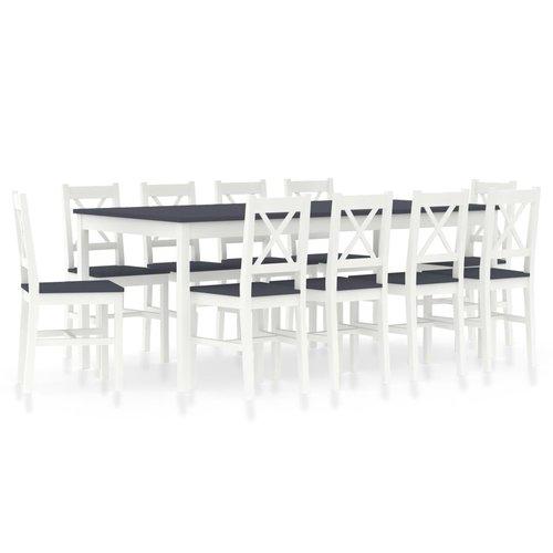 11-delige Eethoek grenenhout wit en grijs