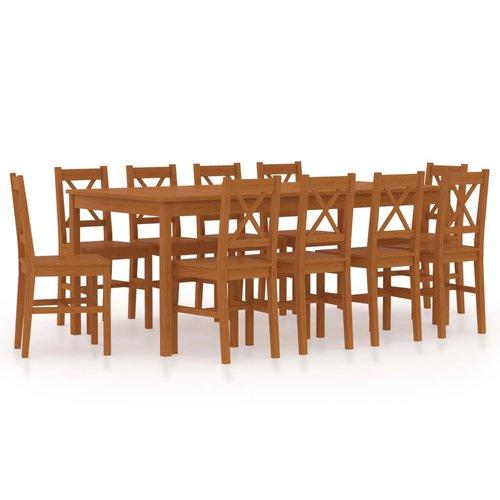 11-delige Eethoek grenenhout honingbruin