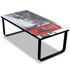 Salontafel met telefooncel-print glazen tafelblad