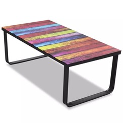 Salontafel met regenboog-print glazen tafelblad