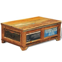 Salontafel met opslagruimte vintage stijl gerecycled hout