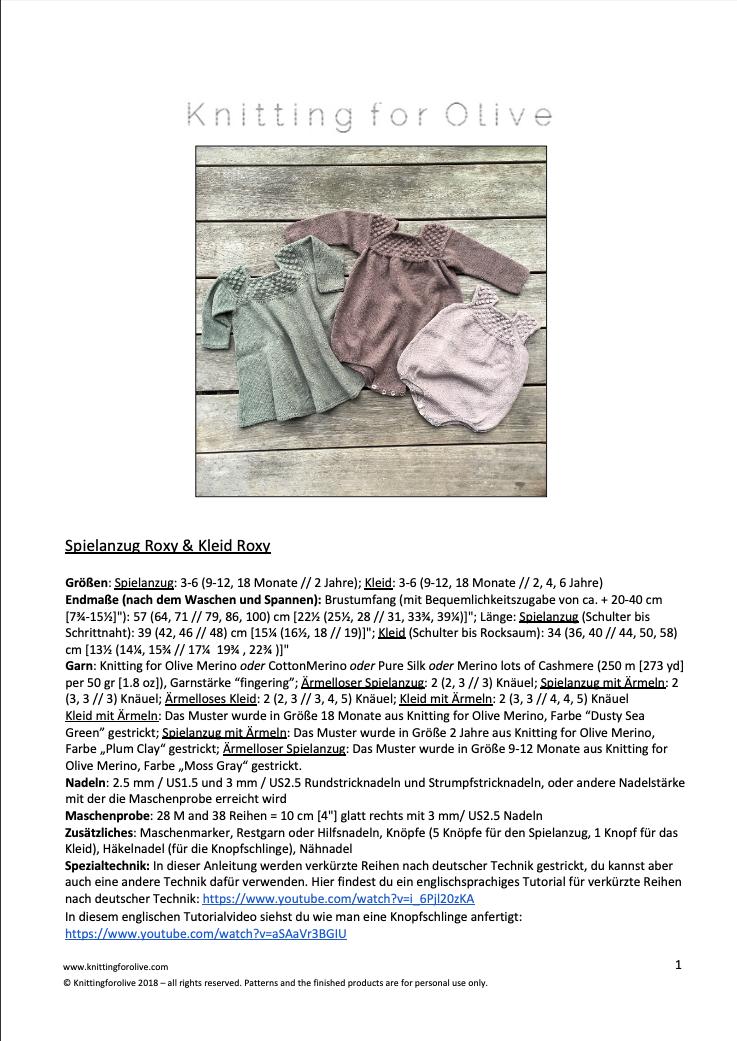Anleitung Knitting for Olive Roxy Spielanzug und Kleid