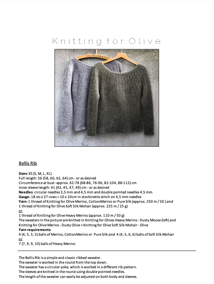 Anleitung Knitting for Olive Bellis Rib