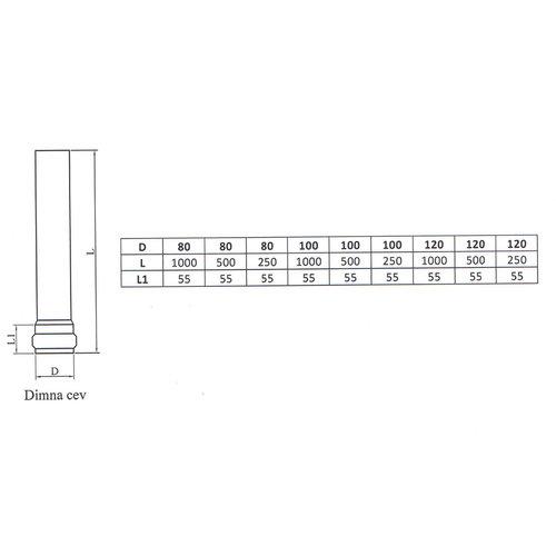 Kepo Enkelwandige buis staal, Dia  80mm L: 1000mm