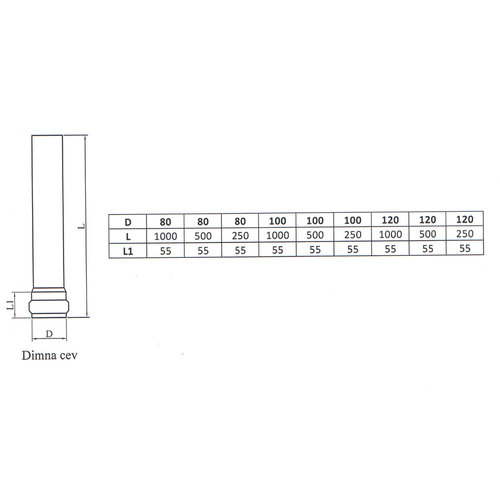 Kepo Enkelwandige buis staal, Dia  80mm L; 500mm