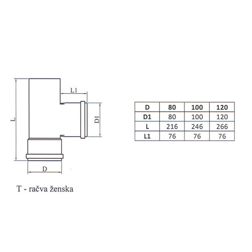 Kepo T-piece F Diameter 80