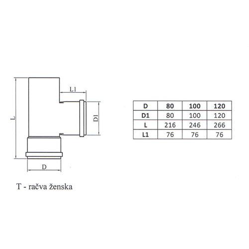Kepo T-Stück-F Durchmesser 80
