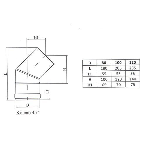 Kepo Elleboog 45, Diameter  80