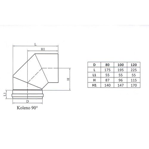 Kepo Ellenbogen 90, Durchmesser 120
