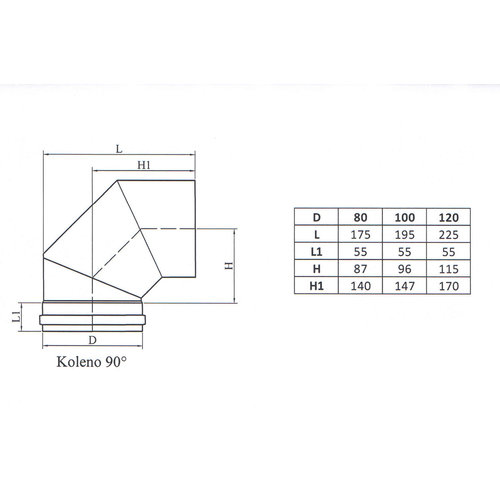 Kepo Elleboog 90, Diameter  100