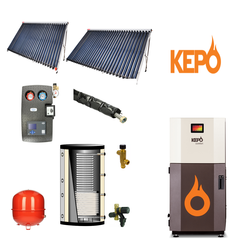 Verwarming set, Kepo MC20 - BST zonneboiler set 2x cpc 30- 600L buffer met tapwater spiraal