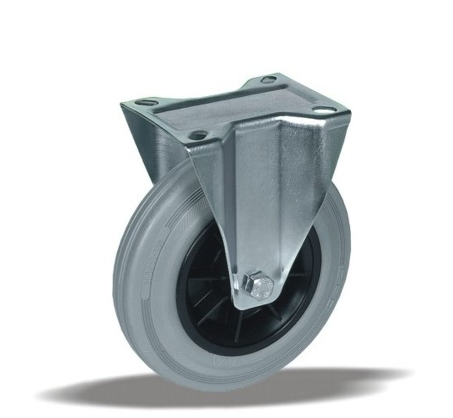 stainless steel Fixed  castor + grey rubber tyre Ø200 x W50mm for  230kg Prod ID: 41855