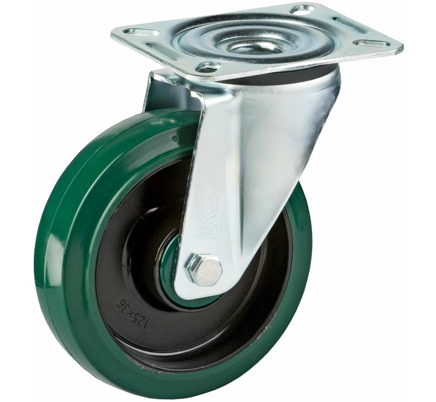 standardno vrtljivo kolo  + elastična gumi obloga  Ø125 x W35mm Za  200kg Prod ID: 39925