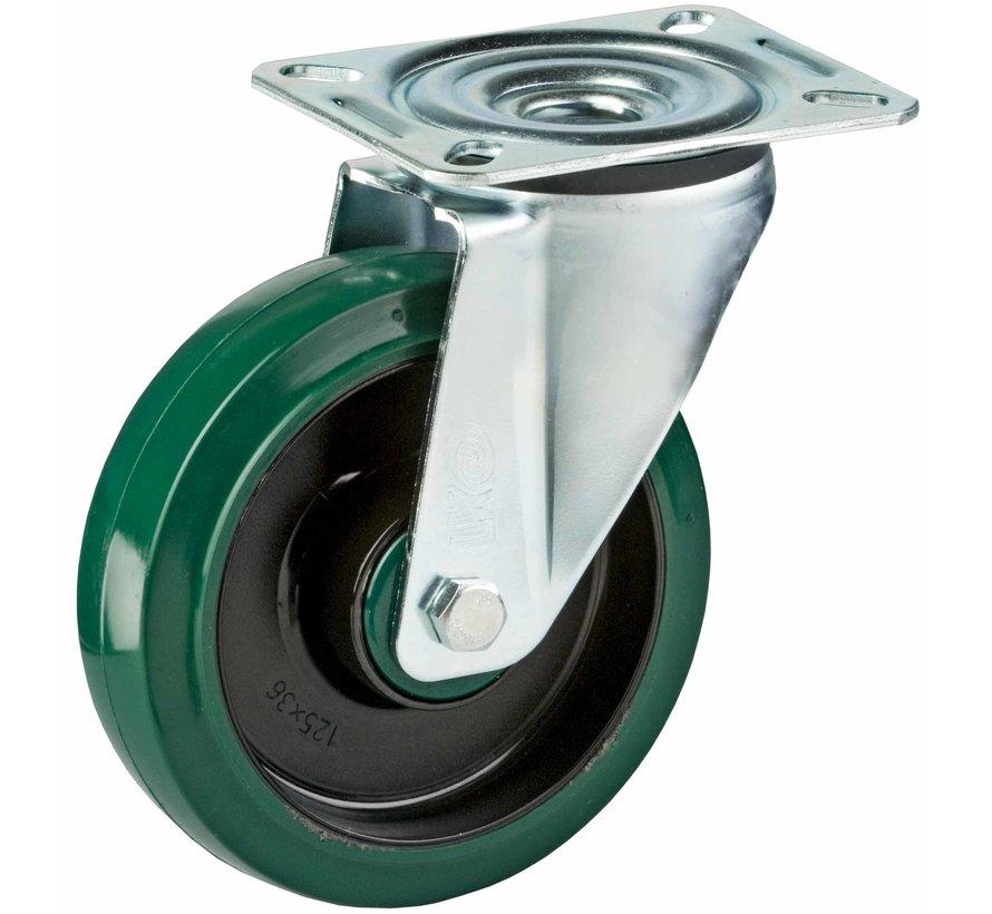 standard Swivel castor + elastic rubber tyre Ø125 x W35mm for  200kg Prod ID: 39933