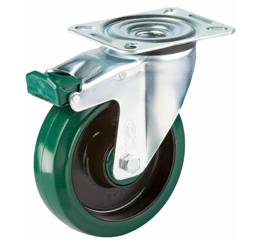 standard Swivel castor with brake + elastic rubber tyre Ø125 x W35mm for  200kg Prod ID: 39965