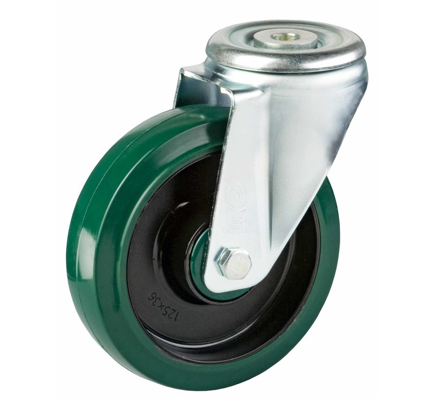 standard Swivel castor + elastic rubber tyre Ø125 x W35mm for  200kg Prod ID: 40223