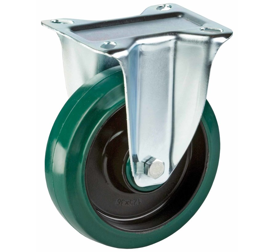 standard Fixed  castor + elastic rubber tyre Ø125 x W35mm for  200kg Prod ID: 39885