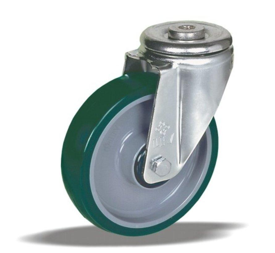 standard Swivel castor + injection-moulded polyurethane  Ø100 x W32mm for  150kg Prod ID: 40575