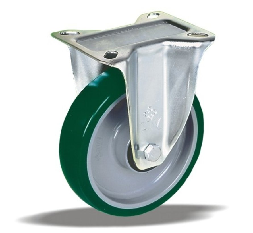 standardno fiksno kolo + brizganje poliuretana  Ø100 x W32mm Za  150kg Prod ID: 40455