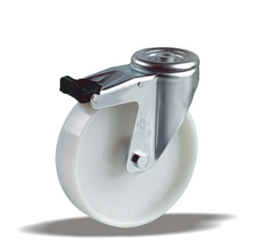 standard Swivel castor with brake + solid polypropylene wheel Ø125 x W38mm for  150kg Prod ID: 34595